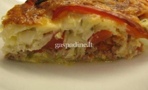 Daržovių ir mėsos pyragas