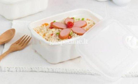 Ryžiai su skaniausiomis virtomis MAMOS dešrelėmis