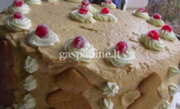Karamelinis maskarponės sūrio tortas su vyšniomis