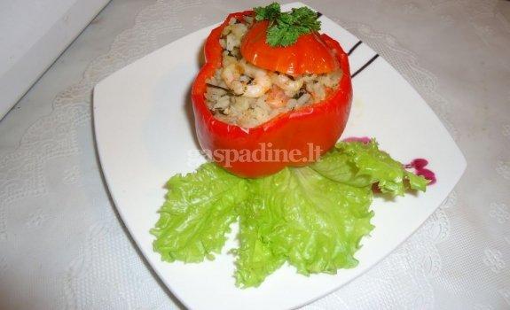 Krevetėmis įdaryti pomidorai