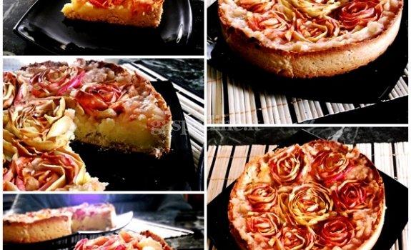 Pyragas su plikytu kremu ir obuoliais