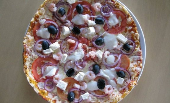 Naminė pica su krevetėmis