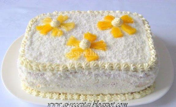 """Tortas """"Ananasinis"""" su plikytu sviestiniu kremu"""