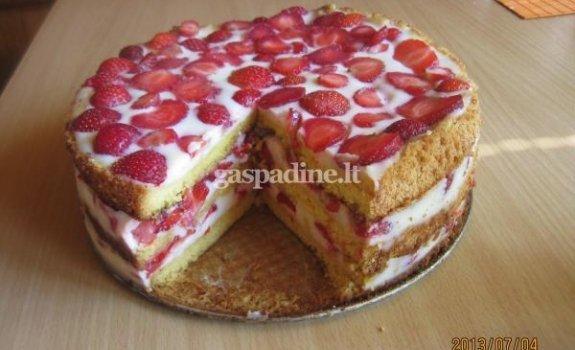 Tortas su braškėmis pagal Gabrielę