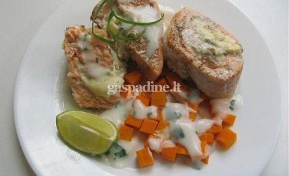 Žuvies ritinėliai su mėlynuoju sūriu