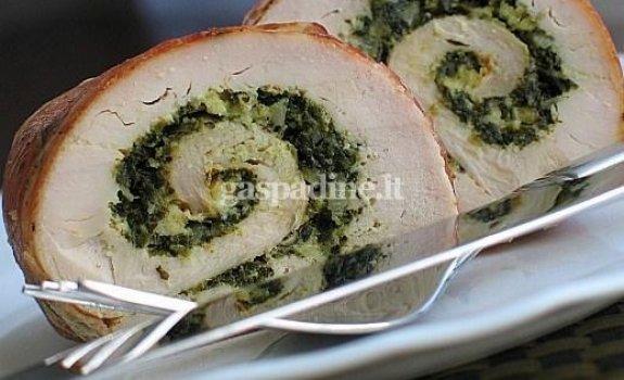 Vištienos ritinėliai su špinatais ir feta sūriu