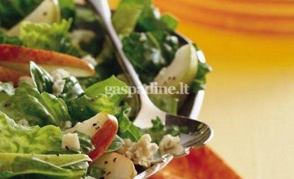 Kriaušių ir mėlynojo sūrio salotos